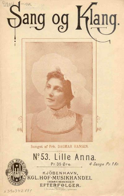 Dagmar Hansen på forsiden af sangen 'Lille Anna'