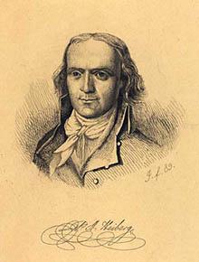 Portræt af forfatteren P.A. Heiberg. Klik for større billede