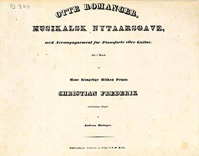 Titelbladet til Hallagers 'Otte Romancer', som udkom i 1836. Klik for større billede