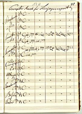 'Trompetermusik for Livjægerkorpset'. Side fra Hallagers nodemanuskriptbog med hans egen komposition.Klik for større billede