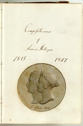Det hjemmegjorte titelblad til 3. del ('Fritimer') af Hallagers nodemanuskriptbøger. Klik for større billede