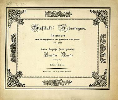 Titelbladet til Hallagers 'Musikalsk Nytaarsgave', som udkom i 1835. Klik for større billede