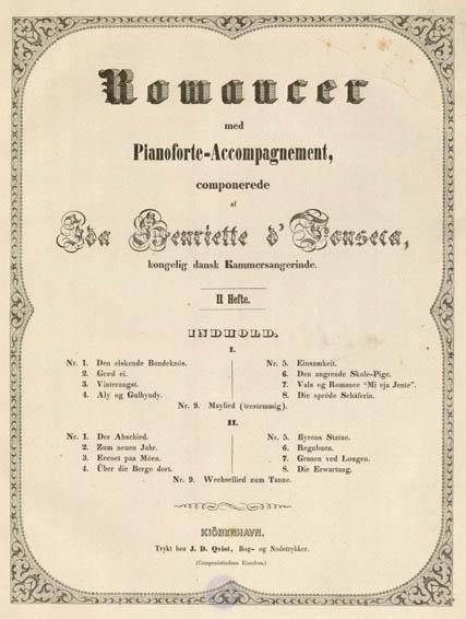 Titelblad til Ida Fonsecas Romancer