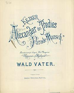 Titelblad til Alexander III's parademarch. Klik for større billede