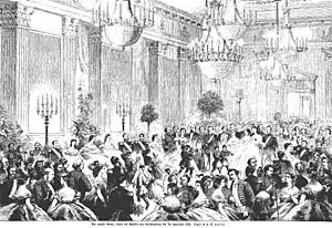 Billede fra hoffesten på Christianborg 7.9.1866. Klik for større billede