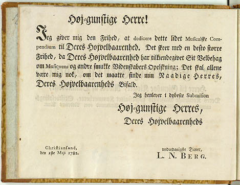 Dedikationen fra Bergs samling
