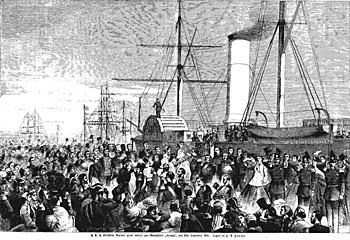 Dagmar går ombord på skibet i september 1866. Klik for større billede