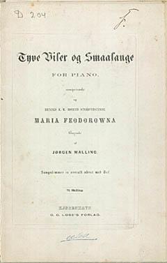 Titelbladet til Jørgen Mallings 'Tyve Viser og Smaasange for Piano'. Klik for større billede
