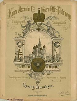 Forside til Georg Lumbyes kroningsmarch. Klik for større billede
