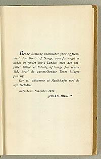 Borups korte forord til sangbogen. Klik for større billede