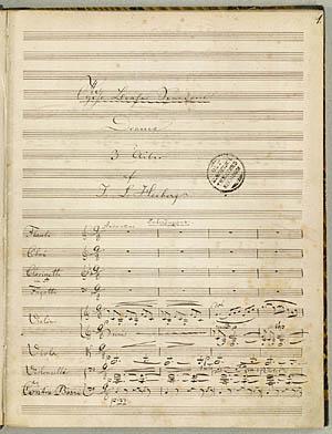 Første nodeside fra Rungs partitur. Klik for større billede