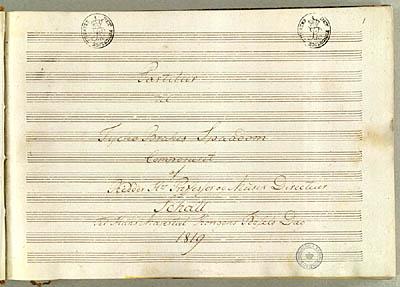 Titelblad fra Schalls partitur. Klik for større billede