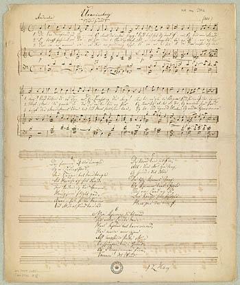 Manuskriptet til Berggreens romance 'Uranienborg'. Klik for større billede