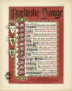 Titelbladet til 'Nordiske Sange' med den sidste Dyveke-sang. Klik for større billede