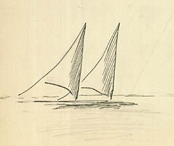 Sejlbåde, tegnet af Ebbe Hamerik Klik for større billede
