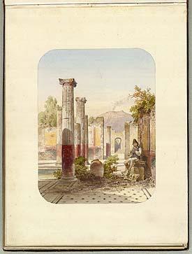 Side fra Helene Bournonvilles 'Album' med en akvarel af tempelruin fra Sydeuropa