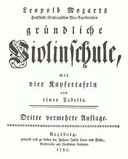 Titelbad til Leopold Mozarts violinskole. Klik for større billede