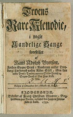Titelblad til Brorosons samling 'Troens Rare Klenodie'. Klik for større billede