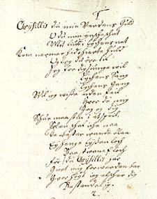 Afskrift af digtet fra Fr. Rostgaards samling. Klik for større billede