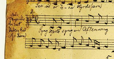 Optegnelse af melodien hos A.P. Berggreen. Klik for større billede