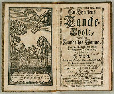 Samling af åndelige digte fra 1705, der bruger Chrysillis som melodiangivelse. Klik for større billede