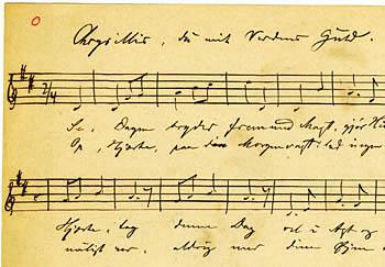 Optegnelse af melodien ved Evald Tang Kristensen. Klik for større billede