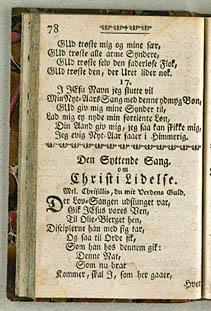 Samling af åndelige digte fra 1713, der bruger Chrysillis som melodiangivelse. Klik for større billede