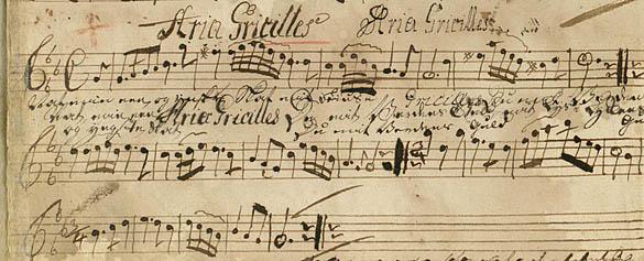 Melodien optegnet i Brd. Basts violinbog. Klik for større billede