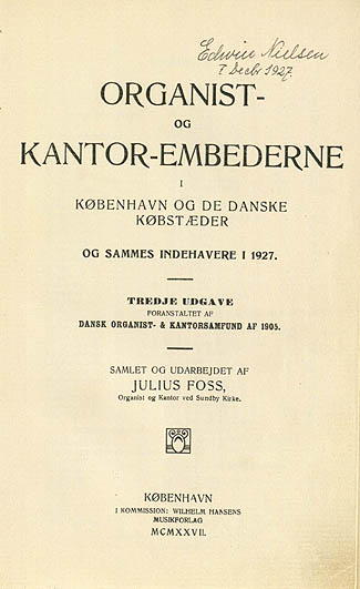 Titelbladet til første side af 'Organistbogen', 3. udgave