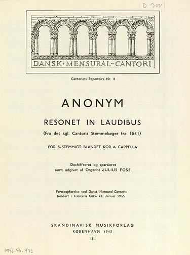 Node fra serien Dansk Mensural-Cantori med en af Foss egne transsskriptioner