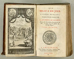 Titelbladet til Francois Pétis de la Croix's oversættelse af de oprindeligt persiske eventyr. Klik for større billede