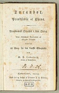Titelbladet til oversættelsen af Schillers skuespil. Klik for større billede