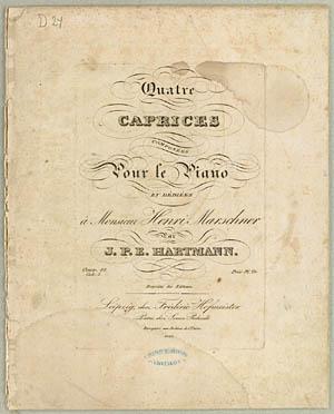 Forsiden af J.P.E. Hartmanns 'Capricer for Klaver', op.18, bind 2. Klik for større billede