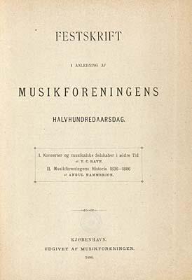 Titelblad til V.C. Ravns bog om de musikalske selskaber