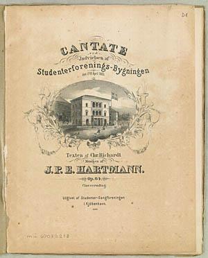 Forsiden fra den trykte udgave af indvielseskantaten til Studenterforeningens nye bygning, 1863. Klik for større billede