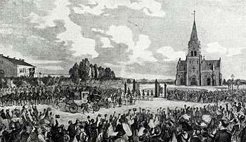 Frederik 7. ankommer til Skt. Johannes Kirke ved indvielsen. Klik for større billede