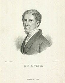 Christoph Ernst Friedrich Weyse afbildet to år før indvielsen af Vor Frue Kirke i København. Klik for større billede