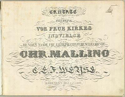 Titelblad fra det trykte klaverudtog til Weyses kantate til Vor Frue Kirkes indvielse. Klik for større billede