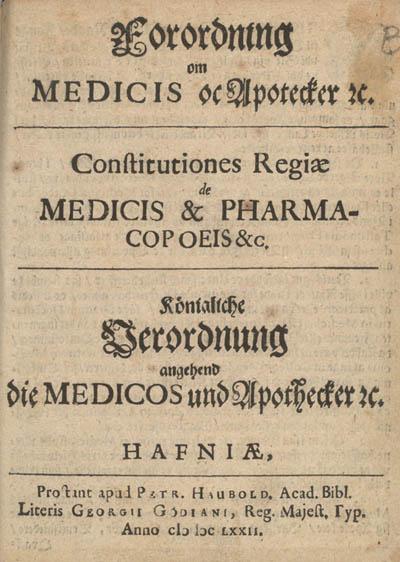 Forordning 1672, titelblad