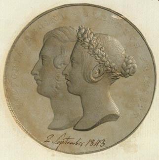 Portrætmedaillon fra Hallagers nodebøger. Klik for større billede