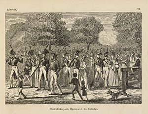 Studenterkorps på vej hjem fra øvelse 1801. Klik for større billede
