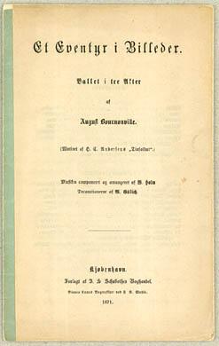 Titebladet til August Bournonvilles balletlibretto for balletten 'Et Eventyr i Billeder'. Klik for større billede