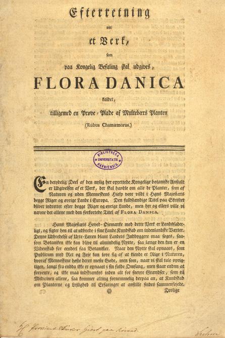 Indbydelsesskrivelse til Flora Danica, 1761