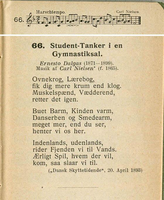 Noder og tekst til Carl Nielsen sangen. Klik for forstørrelse