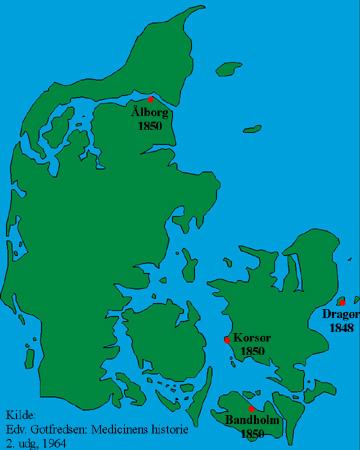 Tidlige tilfælde af kolera i Danmark
