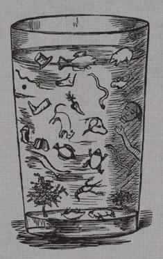 """""""Prøve på et glas ålesuppe"""" Illustration fra det satiriske blad Corsaren"""