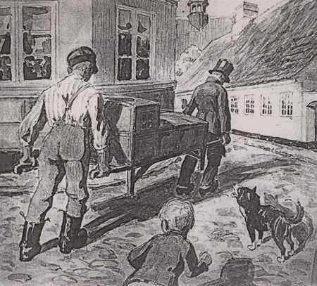 Transport af en kolerapatient. Danmark 1853