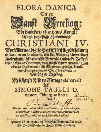 Simon Paulli: Flora Danica. 1648. Titelbad